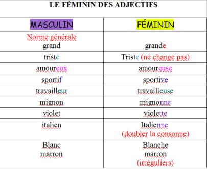 Resultado de imagen de les adjectifs